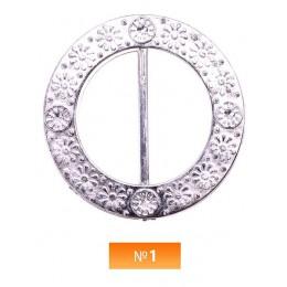 Пряжка пластиовая №1 никель 3.5 см (100 штук)