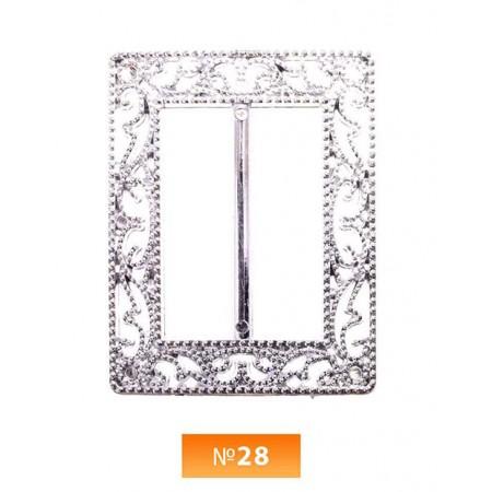 Пряжка пластиовая №28 никель 3.5 см (100 штук)