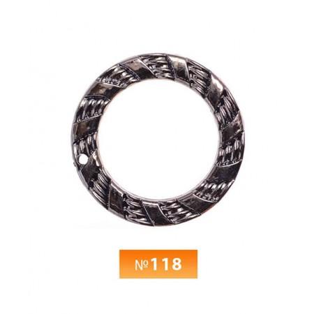 Кольцо пластиковое №118 блек никель 3.5 см (250 штук)