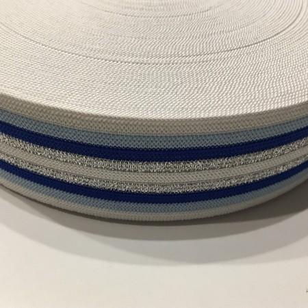 Резинка 42мм синяя серебро (32 метра)