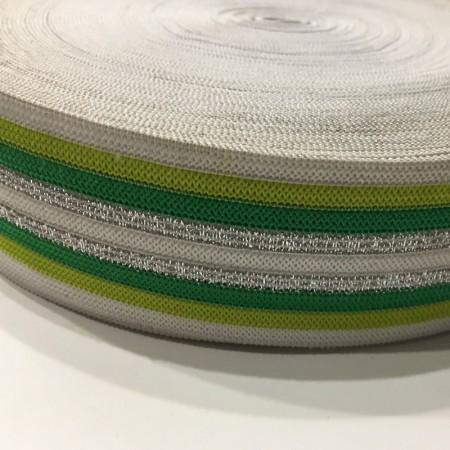 Резинка 42мм зеленая серебро (32 метра)