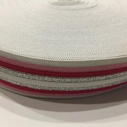 Резинка 42мм красная серебро (32 метра)