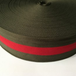 Тесьма репсовая производство 50мм зеленая 1п красная (50 метров)