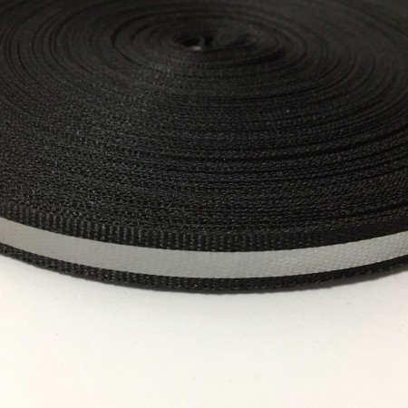 Тесьма светотражающая 1см черная (50 метров)