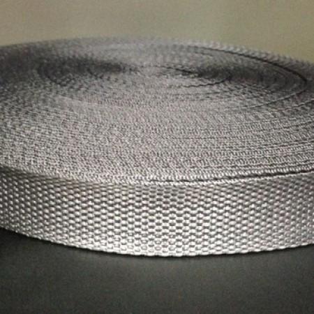 Тесьма-лента ременная 25мм темно серый (100 метров)