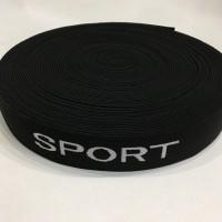 Резинка с логотипом Sport 30мм черный, белый (20 метров)