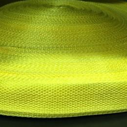 Тесьма-лента ременная 25мм желтый лимон (100 метров)