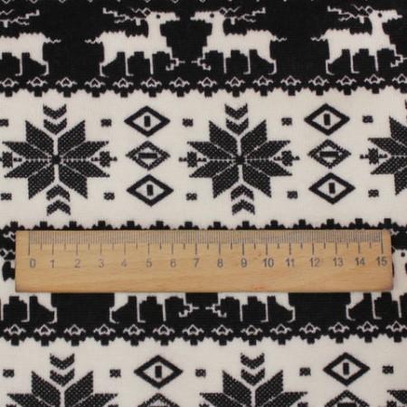 Ткань трикотаж на меху ангора снежинка (метр )