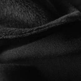 Ткань трикотаж на меху черный (метр )