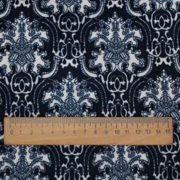 Ткань трикотаж на меху цветы синие (метр )