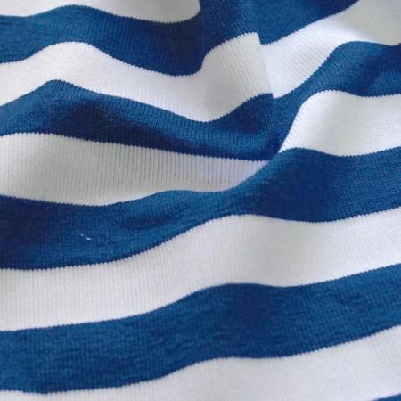 Ткань трикотаж вискоза принт полоска сине белая (метр )