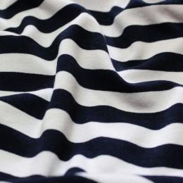 Ткань трикотаж вискоза принт полоска темно-синяя белая (метр )