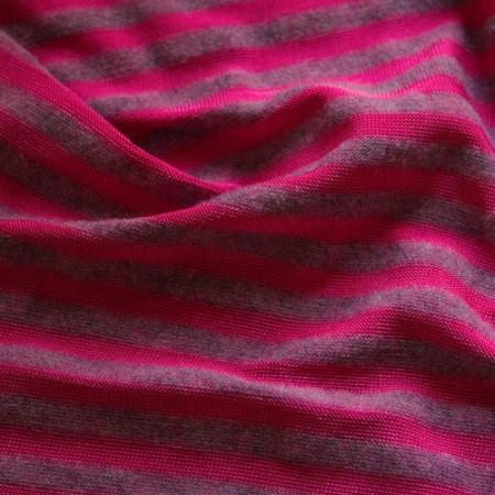Ткань трикотаж вискоза принт полоска малиново сиреневая (метр )