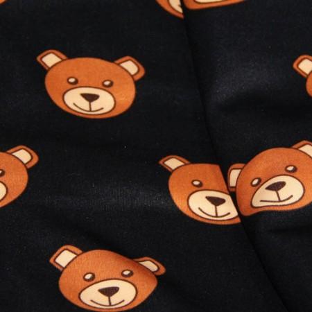 Ткань трикотаж дайвинг принтованый Moschino (медведи) черный (метр )
