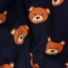 Ткань трикотаж дайвинг принтованый Moschino (медведи) темно-синий (метр )