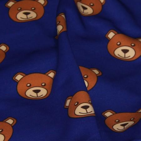 Ткань трикотаж дайвинг принтованый Moschino (медведи) электрик (метр )