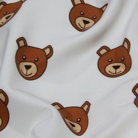 Ткань трикотаж дайвинг принтованый Moschino (медведи) белый (метр )