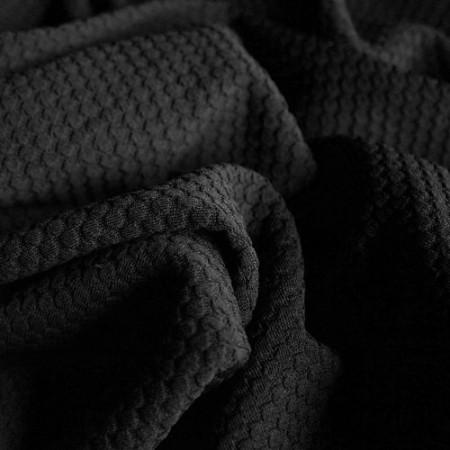 Ткань трикотаж кукуруза крупная соты черная (метр )