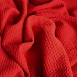 Ткань трикотаж кукуруза крупная соты красная (метр )