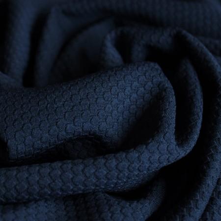 Ткань трикотаж кукуруза крупная соты темно синяя (метр )