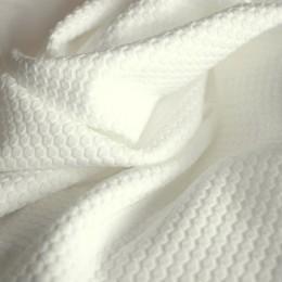 Ткань трикотаж кукуруза крупная соты белая (метр )