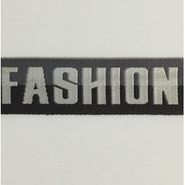 Тесьма с логотипом Fashion 35мм черная (50 метров)