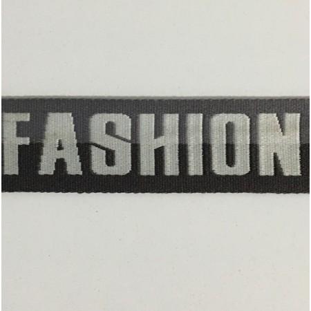 Тесьма с логотипом 35мм Fashion черная (50 метров)