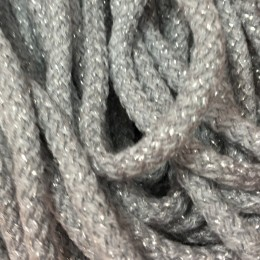 Шнур круглый 6мм акриловый люрекс серый (100 метров)