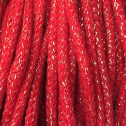Шнур круглый 6мм акриловый люрекс красный (100 метров)