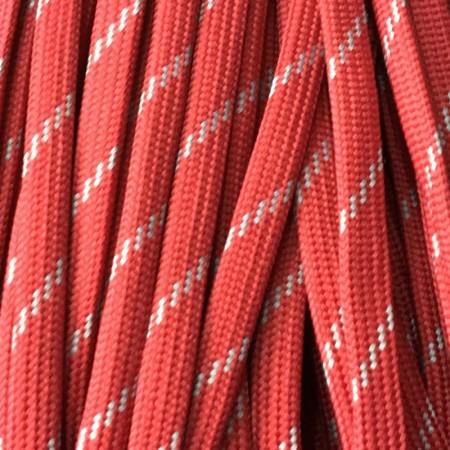 Шнур плоский чехол ПЭ40 10мм красно белый (100 метров)
