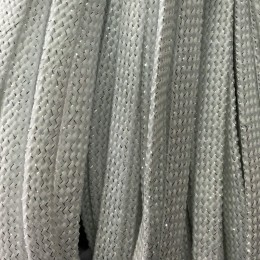 Шнур плоский чехол ПЭ8 мм люрекс белый (100 метров)