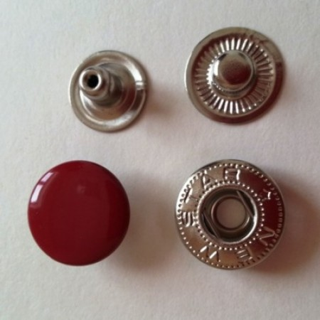 Кнопка металлическая 12,5 мм эмаль красная №148 (720 штук)