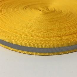 Тесьма светоотражающая 1см желтый (50 метров)