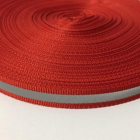 Тесьма светотражающая 1см красный (50 метров)
