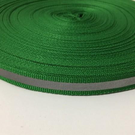 Тесьма светотражающая 1см зеленый (50 метров)