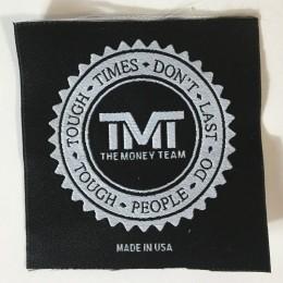 Этикетка жаккардовая вышитая The money team (TMT) 70x70 мм заказная (1000 штук)