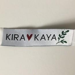 Этикетка жаккардовая вышитая Kira Kaya 15мм заказная (100 метров)