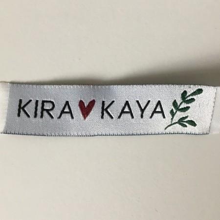 Этикетка жаккардовая вышитая Kira Kaya 15 мм заказная (100 метров)