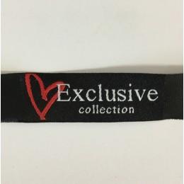 Этикетка жаккардовая вышитая Exclusive collection 15мм заказная (100 метров)