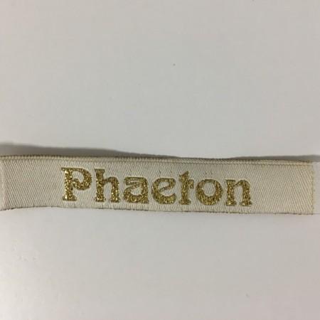 Этикетка жаккардовая вышитая Phaeton 10мм заказная (100 метров)