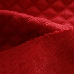 Ткань трикотаж стеганный ромб алый (метр )