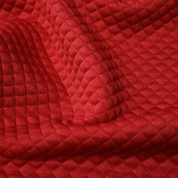 Ткань трикотаж стеганный ромб красный (метр )