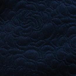 Ткань трикотаж стеганный розы темно-синий (метр )