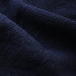 Ткань трикотаж стеганный огурцы темно-синий (метр )