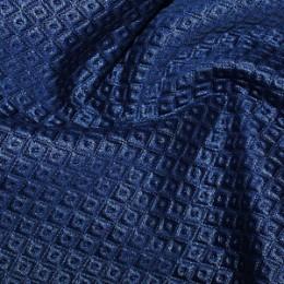 Ткань трикотаж стеганный ромб синий (метр )