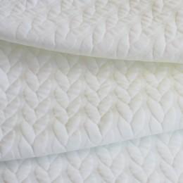 Ткань трикотаж стеганный косичка молочный (метр )