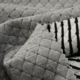 Ткань трикотаж стеганный ромб зара серый меланж (метр )