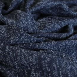 Ткань трикотаж софт меланж темно-синий (метр )