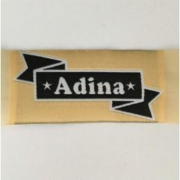 Этикетка жаккардовая вышитая Adina 30мм заказная (100 метров)