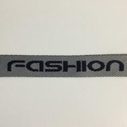 Тесьма с логотипом Fashion 35мм серая (50 метров)